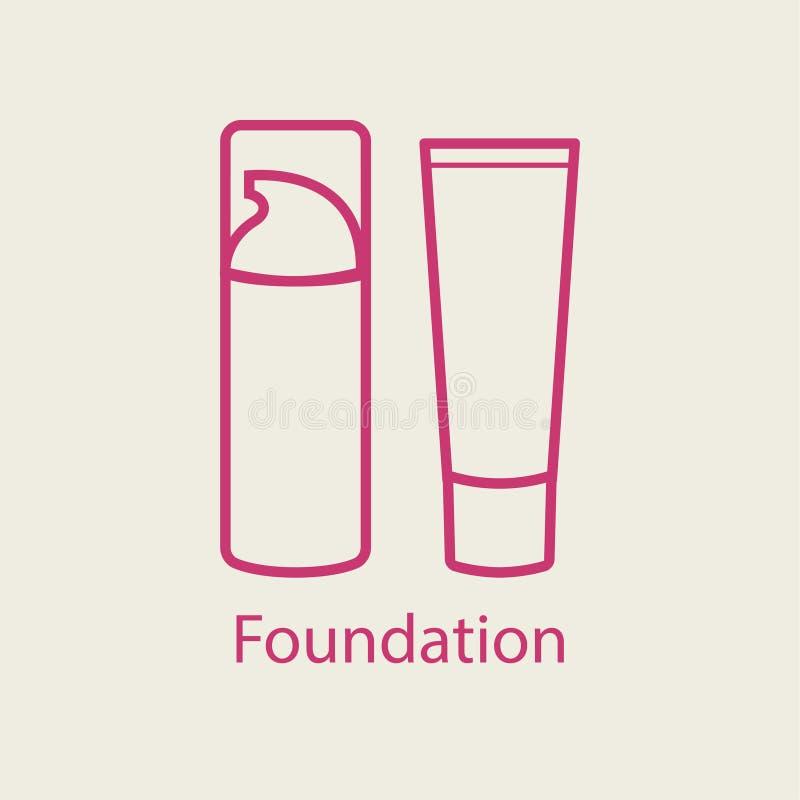 Tunn linje symbol för fundamentframsidakräm stock illustrationer