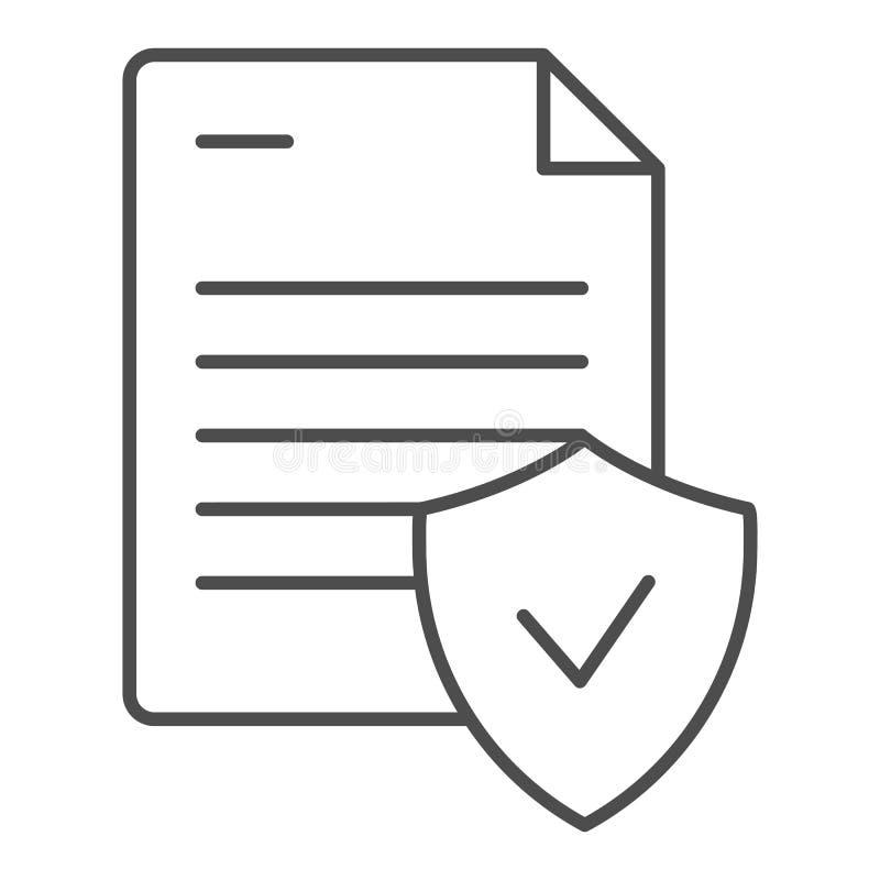Tunn linje symbol för giltigt dokument Godkänd dokumentvektorillustration som isoleras på vit Anmärkning med kontrollöversiktssti stock illustrationer