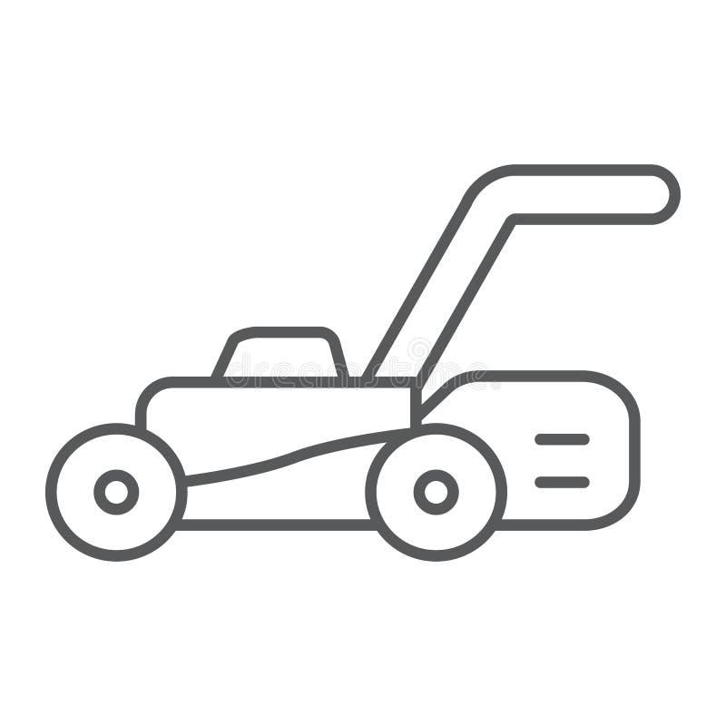 Tunn linje symbol för gräsmattaflyttkarl, utrustning och trädgård, skäraretecken, vektordiagram, en linjär modell på en vit bakgr vektor illustrationer