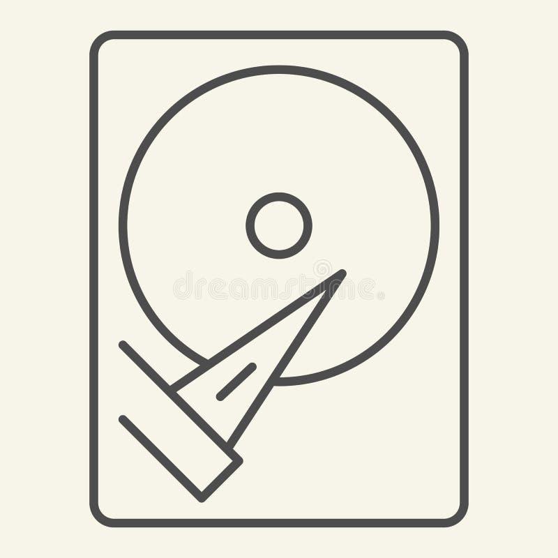 Tunn linje symbol för hårddisk Lagringsvektorillustration som isoleras på vit Design för hårddisköversiktsstil som planläggs för stock illustrationer