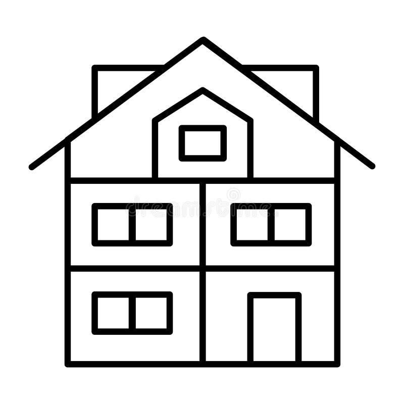 Tunn linje symbol för högt tre-berättelse hus Modern husvektorillustration som isoleras på vit Stuga med den mansard översikten royaltyfri illustrationer