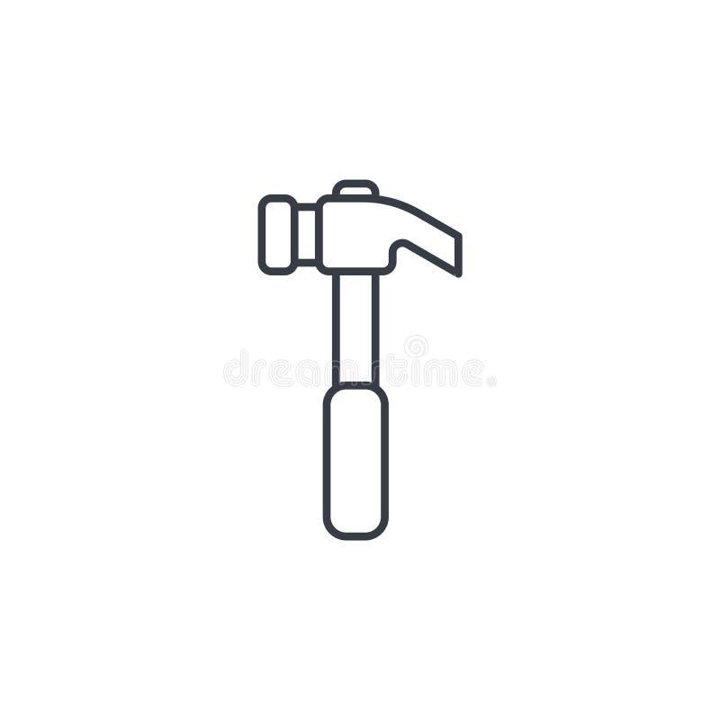 Tunn linje symbol för hammare Linjärt vektorsymbol vektor illustrationer
