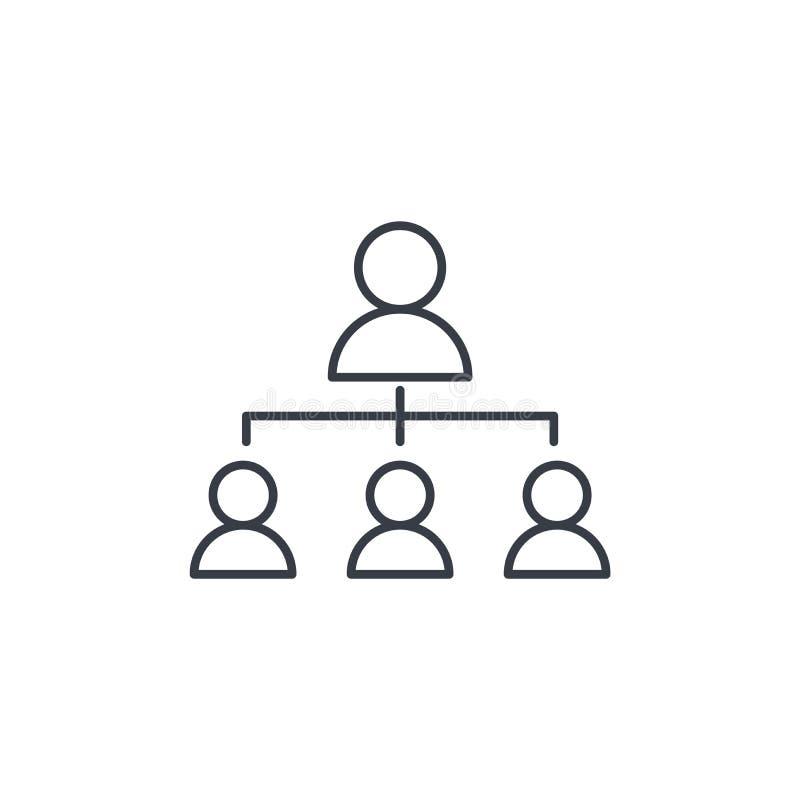 Tunn linje symbol för hierarkiillustration Linjärt vektorsymbol stock illustrationer