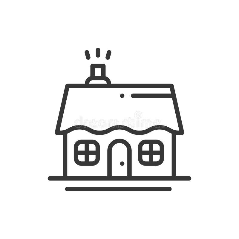 Tunn linje symbol för hus och för hem Översikt dekorerad pictogrambeståndsdel Linjär symbol för vektorlägenhetstil Isolerad logo vektor illustrationer