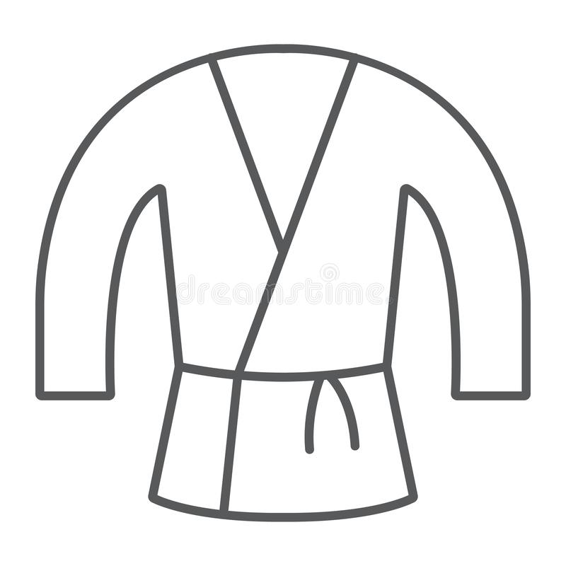 Tunn linje symbol för japansk kimono, asiat och kläder, Japan dräkttecken, vektordiagram, en linjär modell på ett vitt royaltyfri illustrationer
