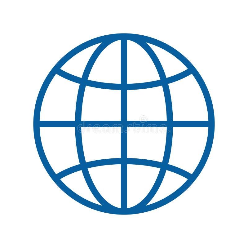 Tunn linje symbol för jordklot också vektor för coreldrawillustration Internet resande, geografi, kommunikationer, teknologiämnen royaltyfri illustrationer