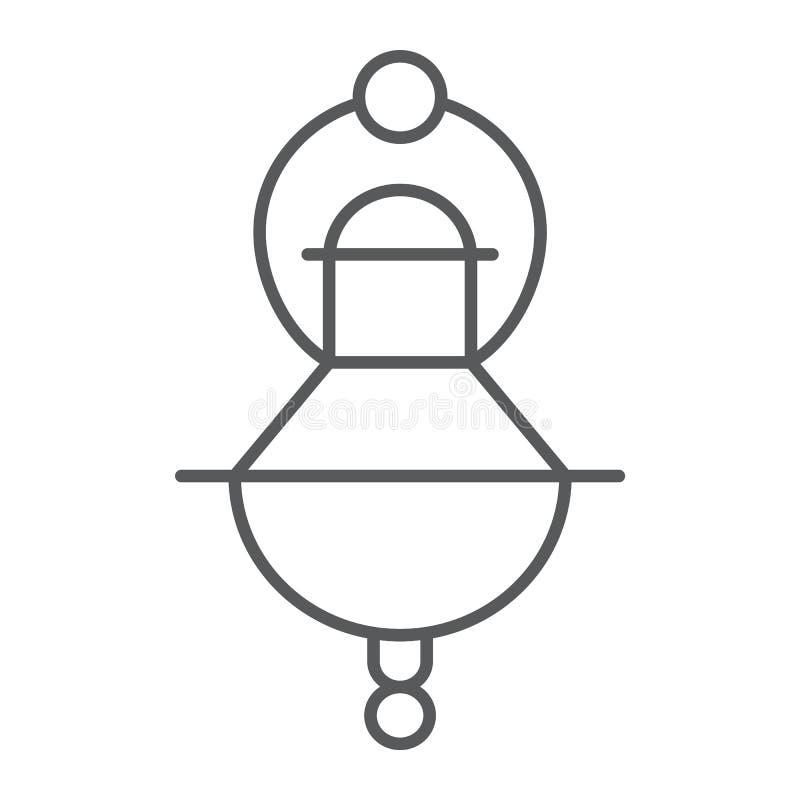 Tunn linje symbol för judisk rökelse, religion och judendom, judiskt ljust tecken, vektordiagram, en linjär modell på ett vitt stock illustrationer