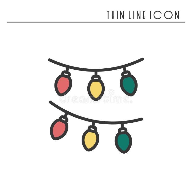 Tunn linje symbol för julgirland Pictogram för beröm för nytt år dekorerad översikt Xmas-vinterbeståndsdel Enkel vektor stock illustrationer