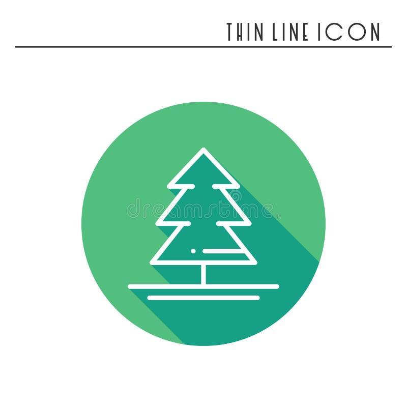 Tunn linje symbol för julgran Gran Pictogram för beröm för nytt år dekorerad översikt Xmas-vinterbeståndsdel vektor royaltyfri illustrationer