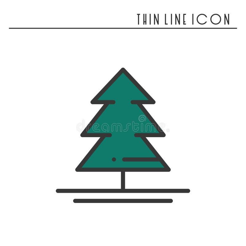 Tunn linje symbol för julgran Gran Pictogram för beröm för nytt år dekorerad översikt Xmas-vinterbeståndsdel vektor stock illustrationer