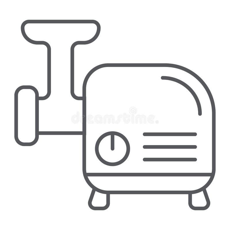 Tunn linje symbol för köttkvarn, kök och redskap, avbrytartecken, vektordiagram, en linjär modell på en vit bakgrund royaltyfri illustrationer