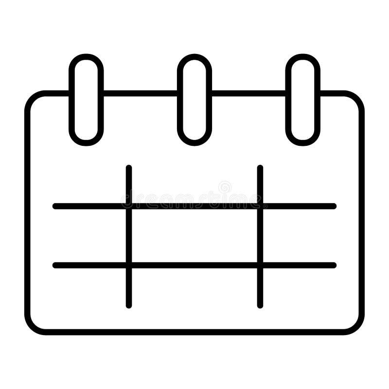 Tunn linje symbol för kalender Påminnelsevektorillustration som isoleras på vit Design för datumöversiktsstil som planläggs för r vektor illustrationer