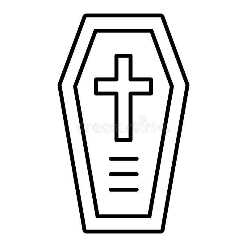 Tunn linje symbol för kista Allhelgonaaftonkista med den arga vektorillustrationen som isoleras på vit Design för dödöversiktssti stock illustrationer