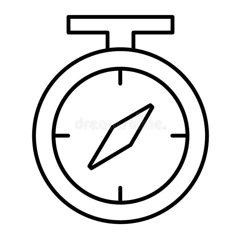 Tunn linje symbol för kompass Navigeringvektorillustration som isoleras på vit Design för riktningsöversiktsstil som planläggs fö stock illustrationer