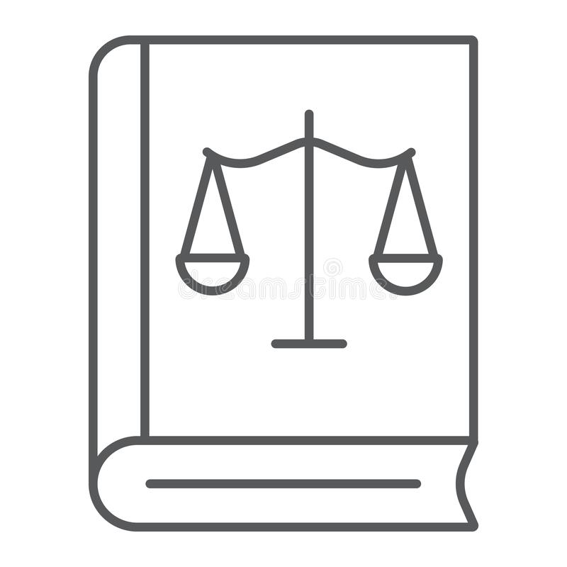 Tunn linje symbol för lagbok, rättvisa och lag, bok med libratecknet, vektordiagram, en linjär modell på en vit bakgrund vektor illustrationer