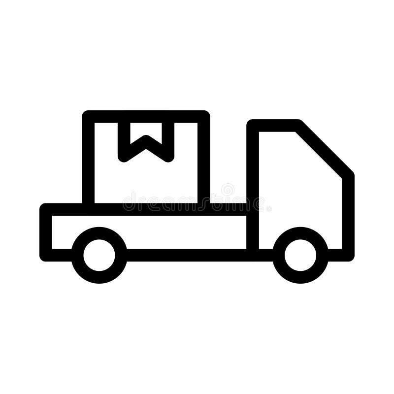 Tunn linje symbol för lastbil royaltyfri illustrationer