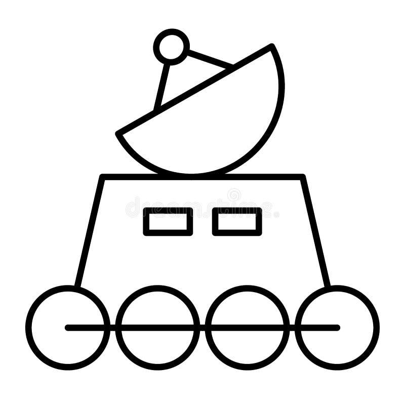 Tunn linje symbol för månerover Mån- rovervektorillustration som isoleras på vit Design för rymdskeppöversiktsstil som planläggs vektor illustrationer