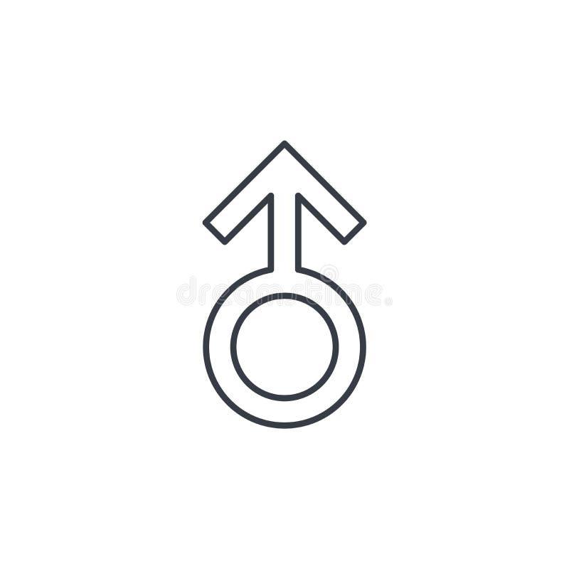 Tunn linje symbol för mansymbol Linjärt vektorsymbol stock illustrationer