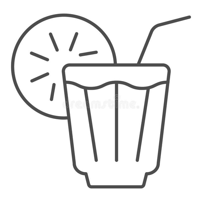 Tunn linje symbol för med is drink Lemonadvektorillustration som isoleras på vit Kall design för teöversiktsstil som planläggs fö stock illustrationer