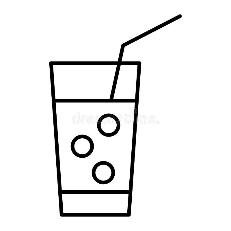 Tunn linje symbol för med is lemonad Exponeringsglas av lemonad med sugrörvektorillustrationen som isoleras på vit Drinköversikts royaltyfri illustrationer