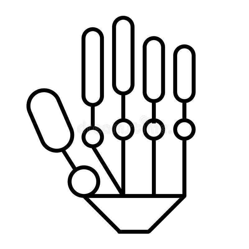 Tunn linje symbol för mekanisk hand Modern illustration för robothandvektor som isoleras på vit Design för stil för Cyberarmövers royaltyfri illustrationer