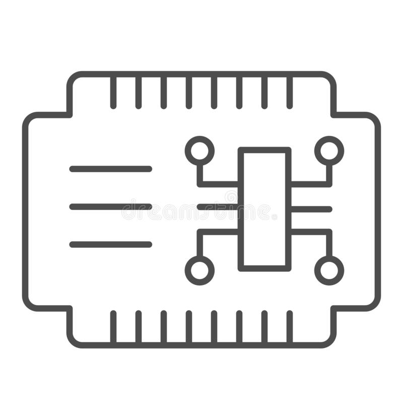 Tunn linje symbol för Microcircuit Illustration för bilelektronikvektor som isoleras på vit Stil för bilströmkretsöversikt vektor illustrationer