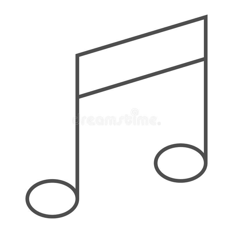 Tunn linje symbol för musikanmärkning, musikal och ljud, meloditecken, vektordiagram, en linjär modell på en vit bakgrund vektor illustrationer