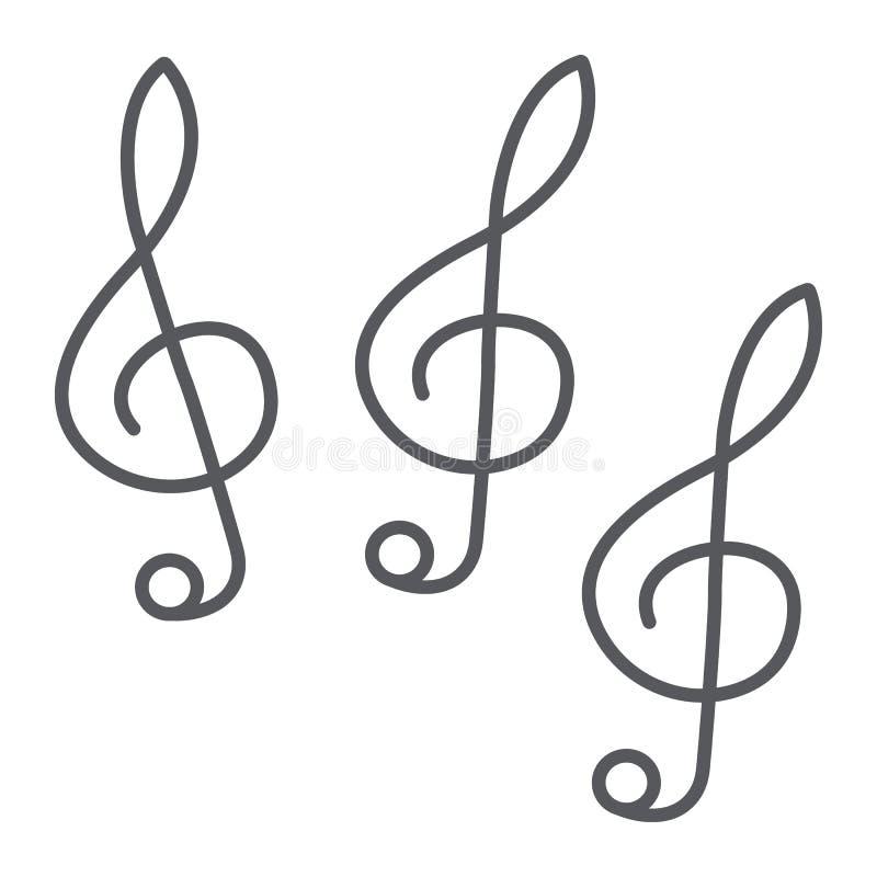 Tunn linje symbol för musikklav, musik och anmärkning, nyckel- tecken för musik, vektordiagram, en linjär modell på en vit bakgru royaltyfri illustrationer