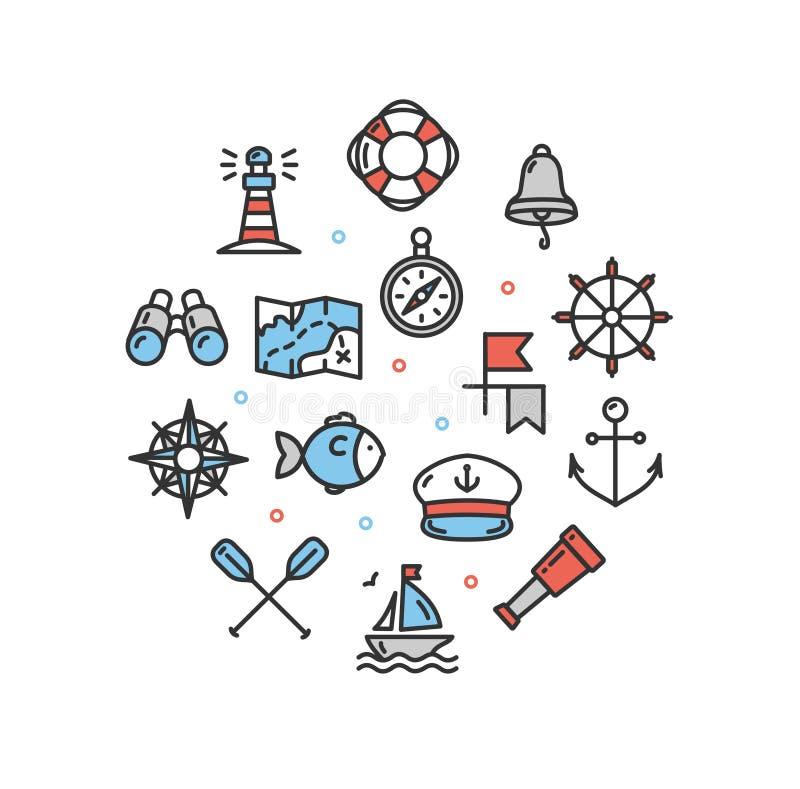 Tunn linje symbol för nautisk mall för havsrundadesign vektor vektor illustrationer