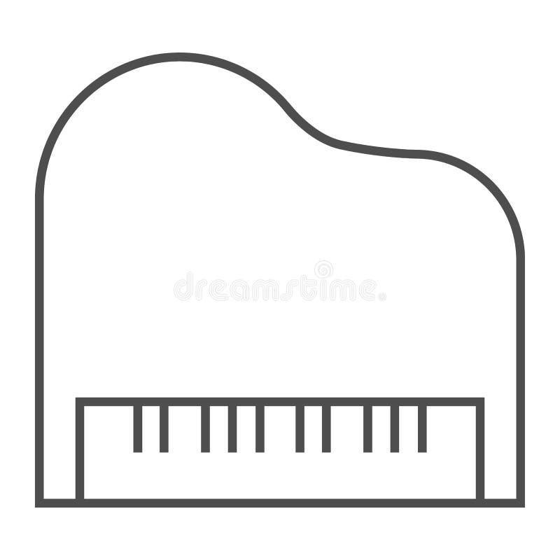 Tunn linje symbol för piano, musikal och ljud, instrumenttecken, vektordiagram, en linjär modell på en vit bakgrund vektor illustrationer