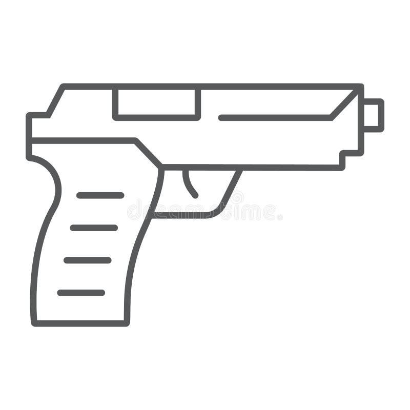 Tunn linje symbol för pistolvapen, vapen och armé, handeldvapentecken, vektordiagram, en linjär modell på en vit bakgrund vektor illustrationer