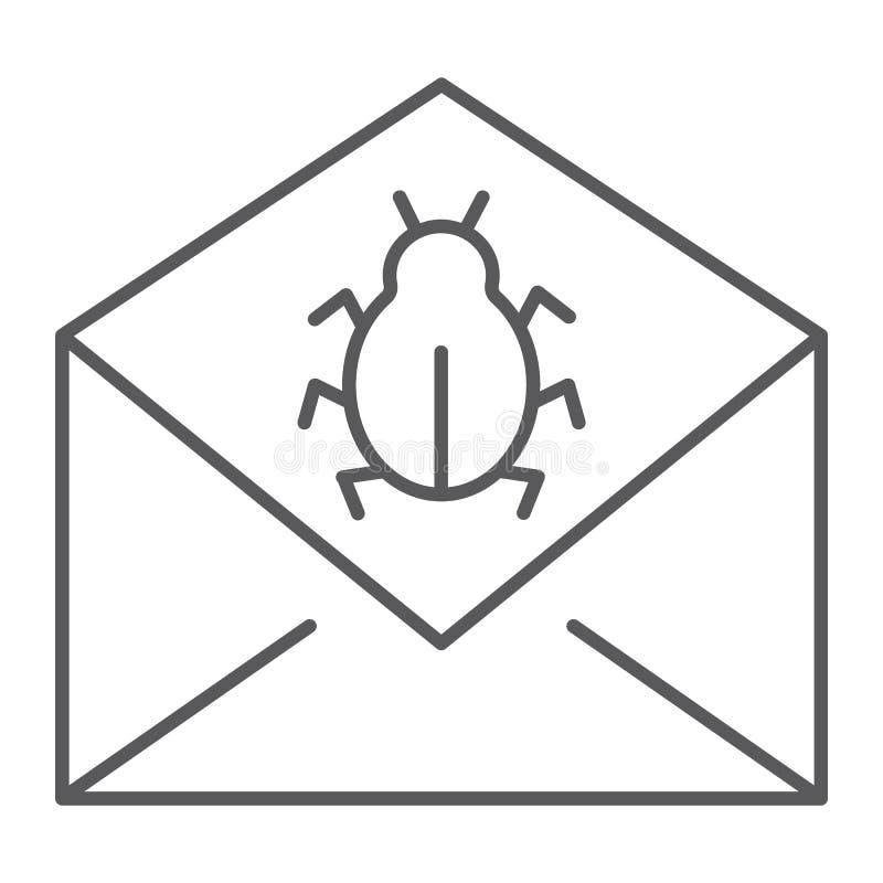 Tunn linje symbol för postvirusattack, meddelande och säkerhet, emailtecken, vektordiagram, en linjär modell royaltyfri illustrationer