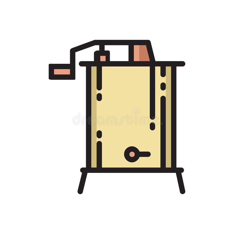 Tunn linje symbol för radiell centrifugal honungutsugningsfläkt royaltyfri illustrationer