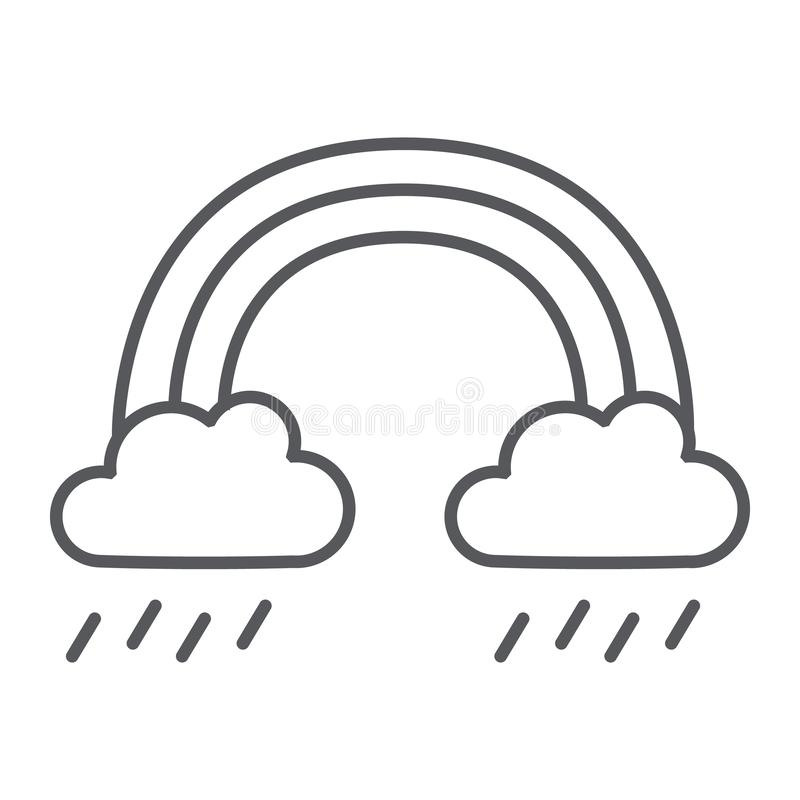 Tunn linje symbol för regnbåge och för regn, väder och natur, regnigt tecken, vektordiagram, en linjär modell på en vit bakgrund stock illustrationer
