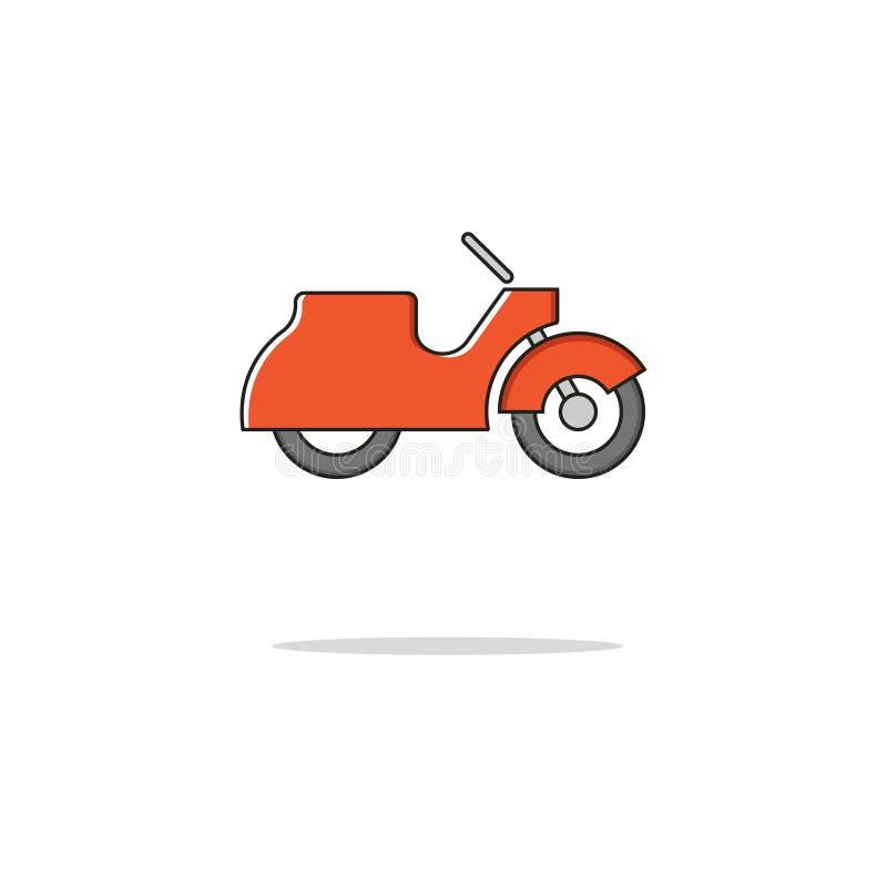 Tunn linje symbol för Retro sparkcykelfärg också vektor för coreldrawillustration fotografering för bildbyråer