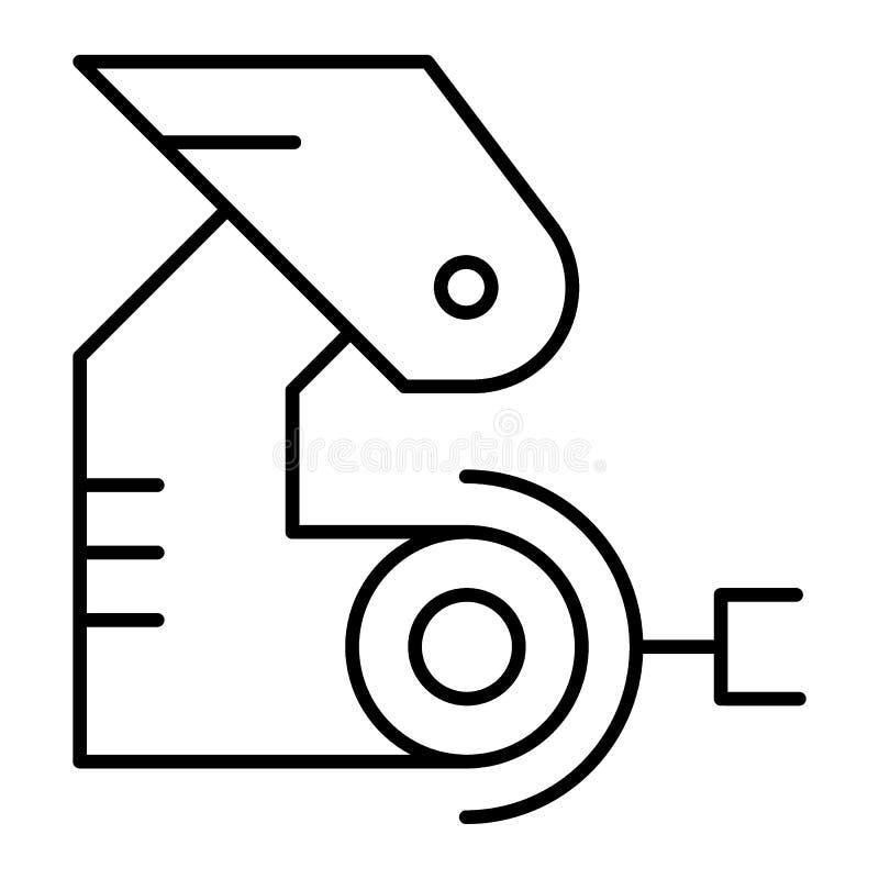 Tunn linje symbol för Robotic hand Mekanisk jordluckrarevektorillustration som isoleras på vit Fabriks- översiktsstildesign royaltyfri illustrationer