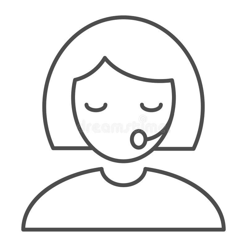 Tunn linje symbol för service Illustration för vektor för appellmittoperatör som isoleras på vit Operatör i hörlurar med mikrofon royaltyfri illustrationer