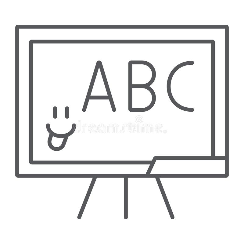 Tunn linje symbol för skolasvart tavla, skola och klassrum, undervisande brädetecken, vektordiagram, en linjär modell på a royaltyfri illustrationer