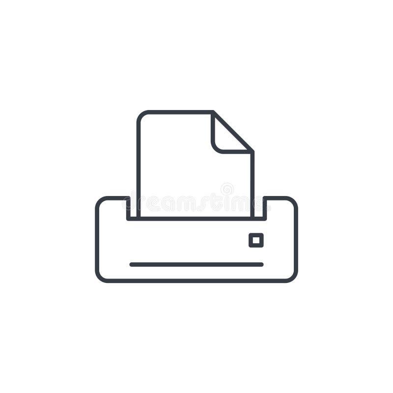 Tunn linje symbol för skrivare Linjärt vektorsymbol stock illustrationer
