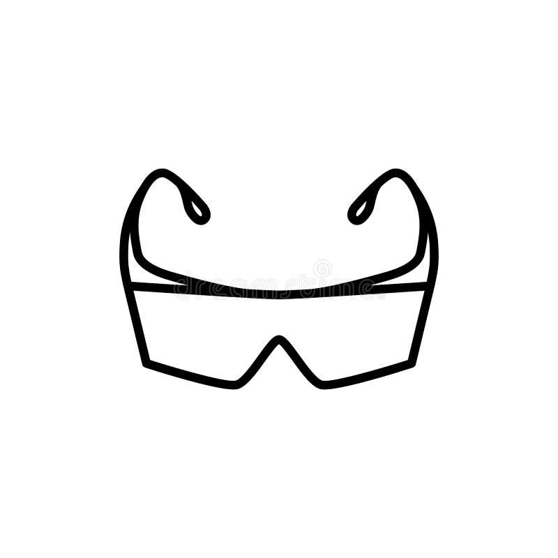 Tunn linje symbol för skyddssäkerhetsexponeringsglas stock illustrationer