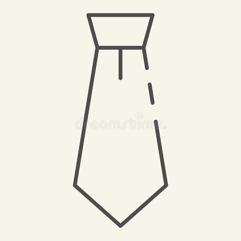 Tunn linje symbol för slips Bandvektorillustration som isoleras på vit Formell kläder skisserar stildesignen som planläggs för re royaltyfri illustrationer