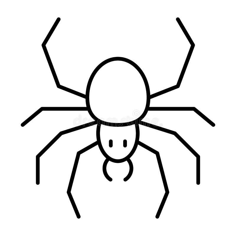 Tunn linje symbol för spindel Spindeldjurvektorillustration som isoleras på vit Design för krypöversiktsstil som planläggs för re royaltyfri illustrationer