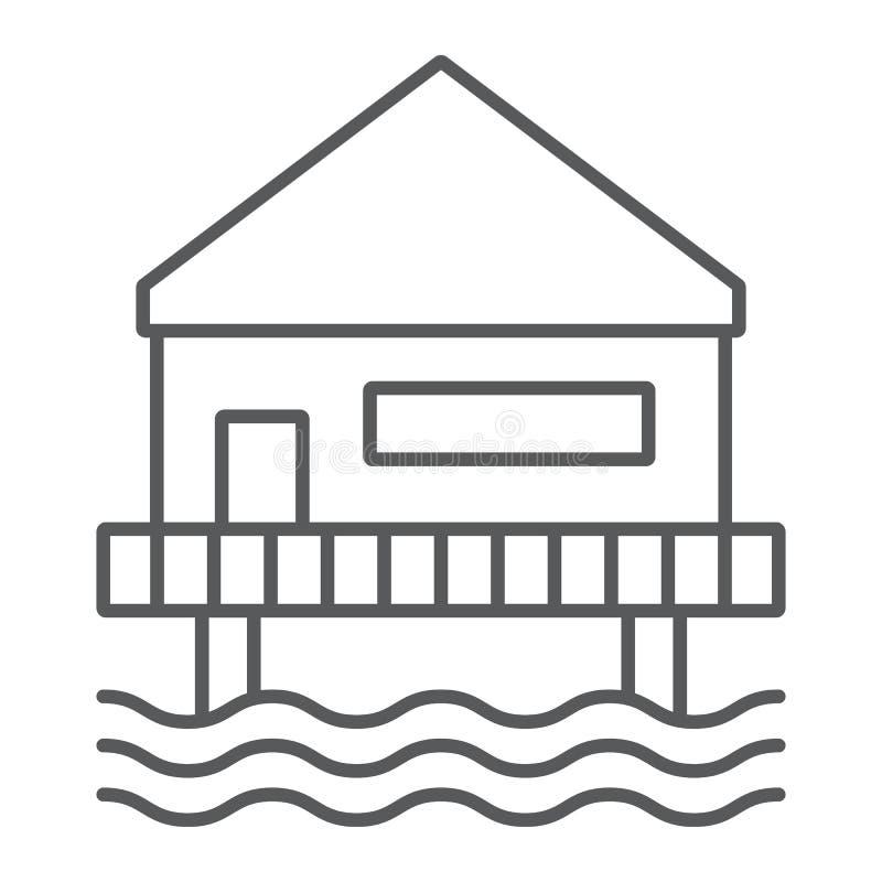 Tunn linje symbol för strandbungalow, sjösida och koja, tecken för strandhus, vektordiagram, en linjär modell på ett vitt vektor illustrationer