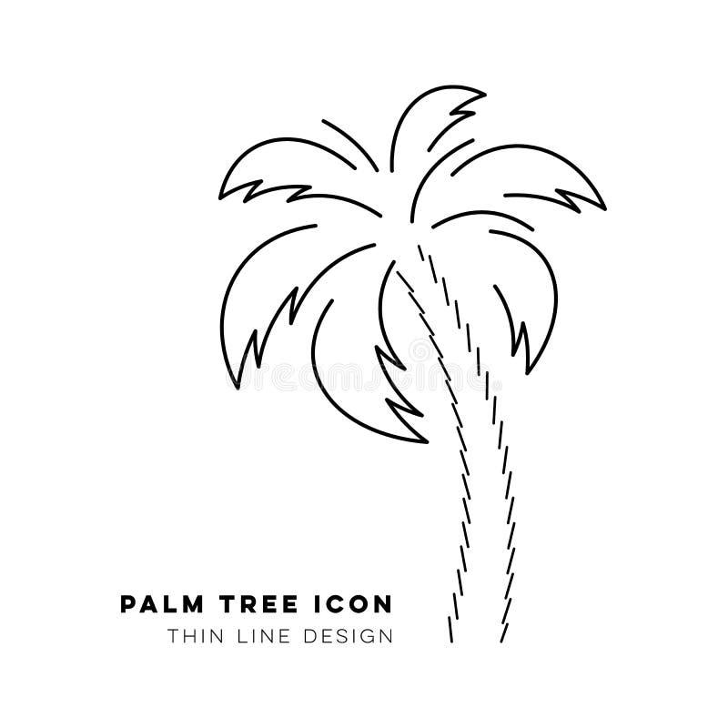 Tunn linje symbol för svart vektorpalmträd royaltyfri illustrationer