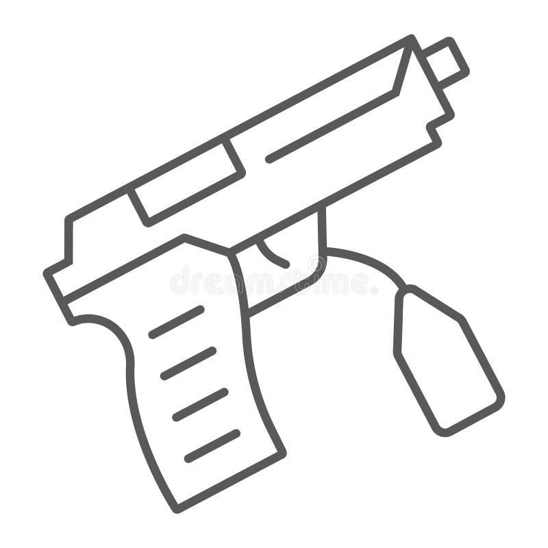 Tunn linje symbol för tecken, lag och brott, vapentecken, vektordiagram, en linjär modell på en vit bakgrund vektor illustrationer