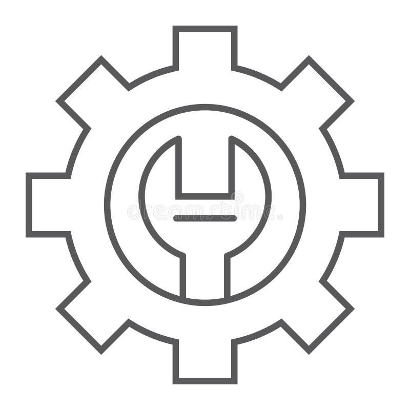 Tunn linje symbol för teknisk service, underhåll och service, inställningstecken, vektordiagram, en linjär modell royaltyfri illustrationer