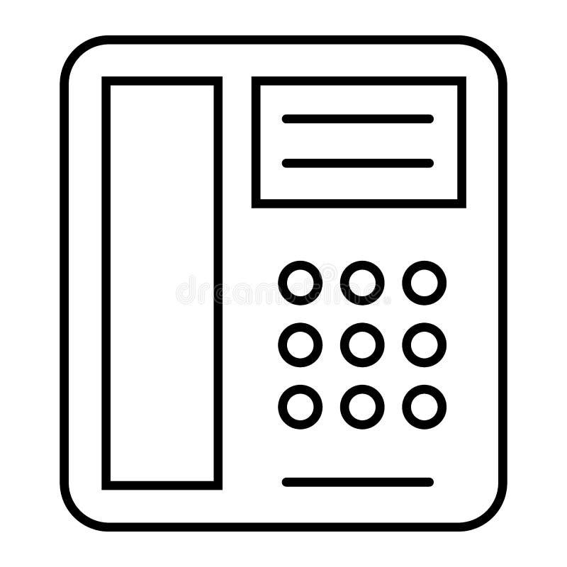 Tunn linje symbol för telefon Telefonvektorillustration som isoleras på vit Gammal design för telefonöversiktsstil som planläggs  royaltyfri illustrationer