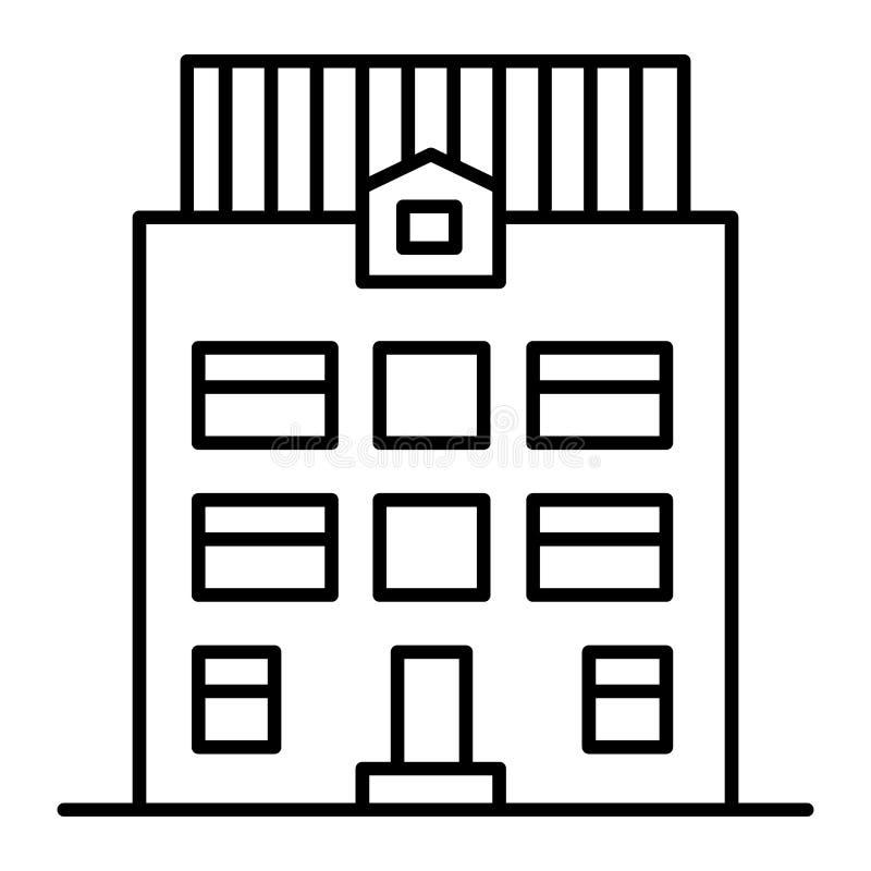 tunn linje symbol för Tre-berättelse hus Arkitekturvektorillustration som isoleras på vit Hem- yttre översiktsstildesign royaltyfri illustrationer