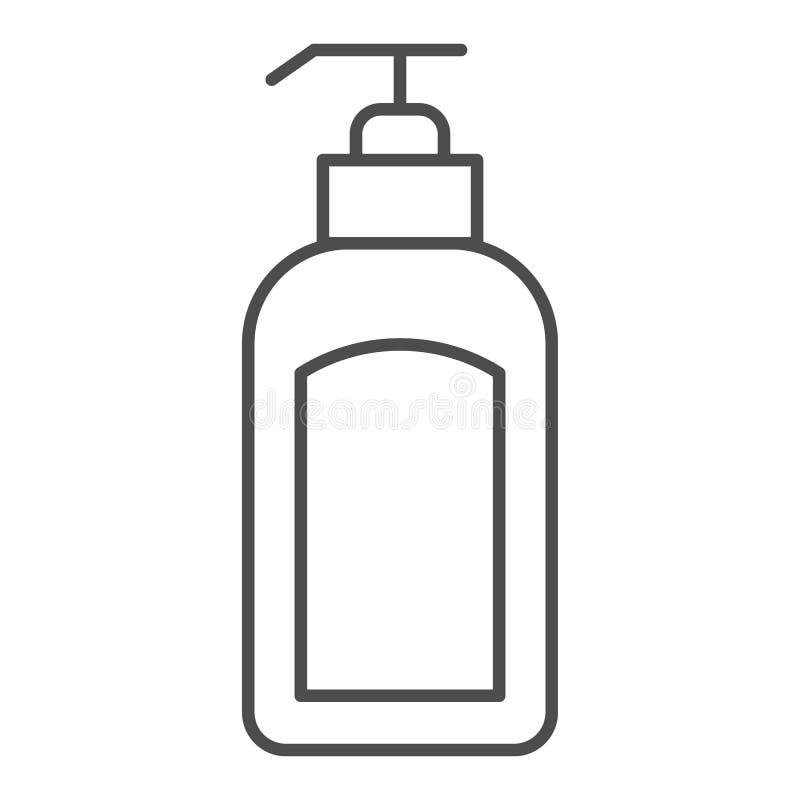 Tunn linje symbol för utmatare Illustration för lotionflaskvektor som isoleras på vit Design för hävertöversiktsstil som planlägg royaltyfri illustrationer