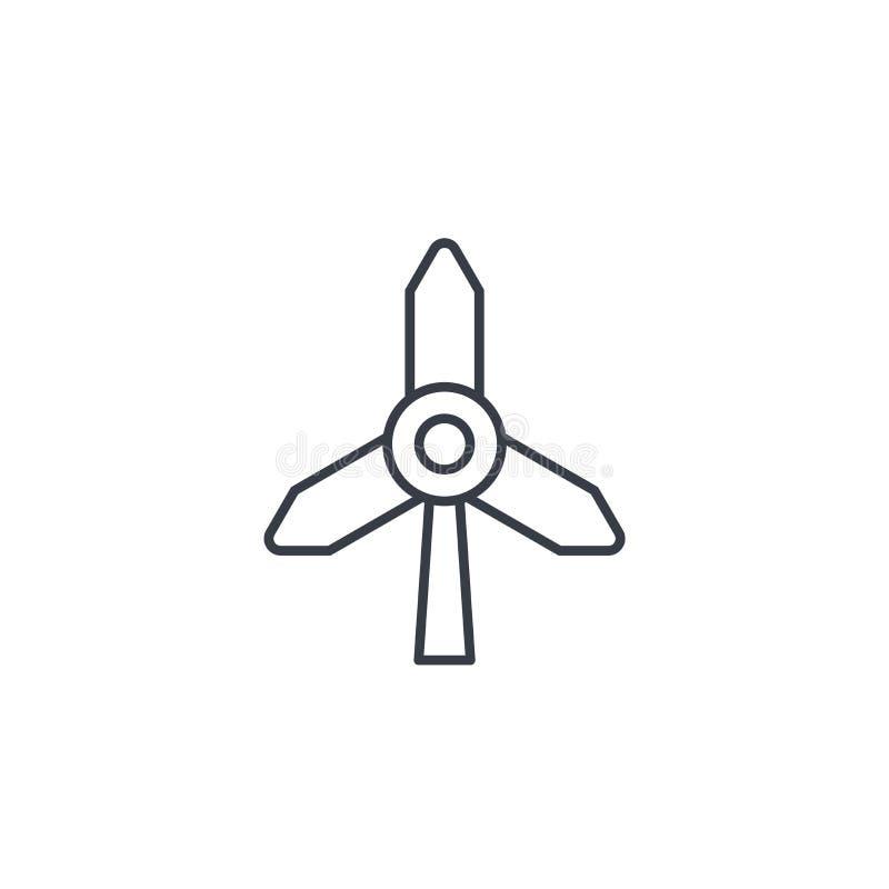 Tunn linje symbol för väderkvarnenergi Linjärt vektorsymbol stock illustrationer